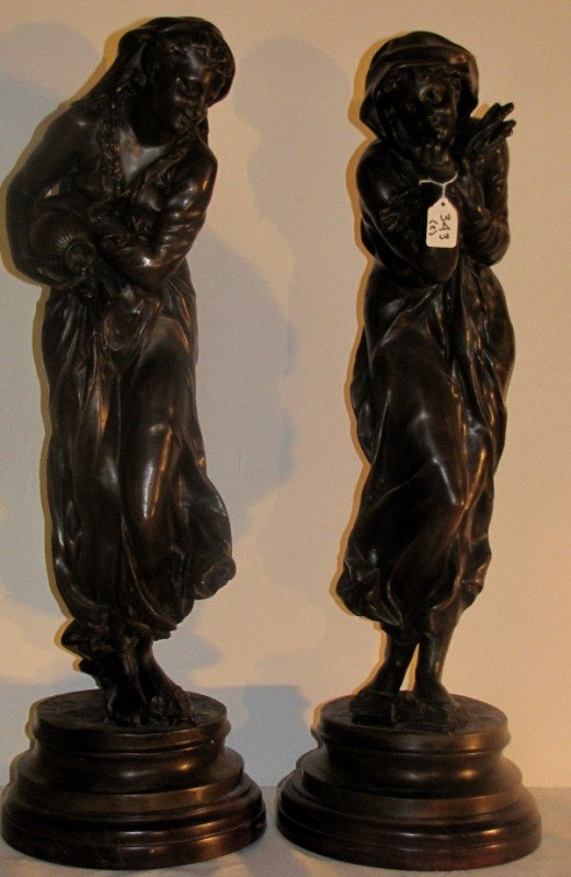 """343: Pair of French spelter harvest figures. H: 20 1/2"""""""