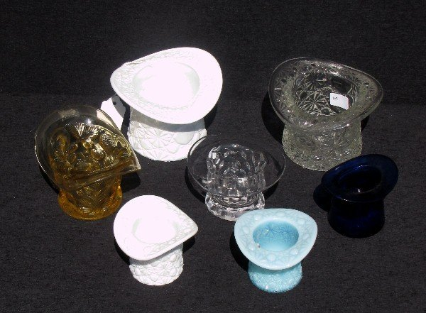 3: 7 Pcs. of Imperial, Fenton, Indiana style glass hats
