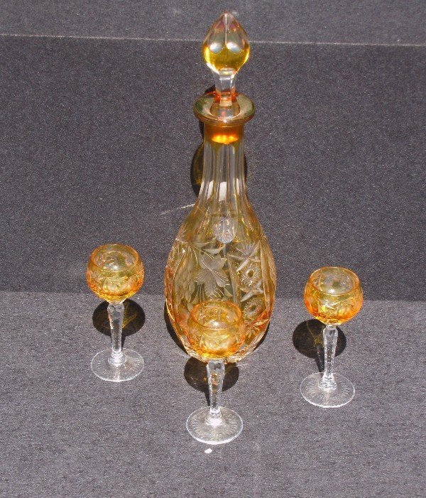 9: Bohemian amber cut to clear crystal decanter and gla