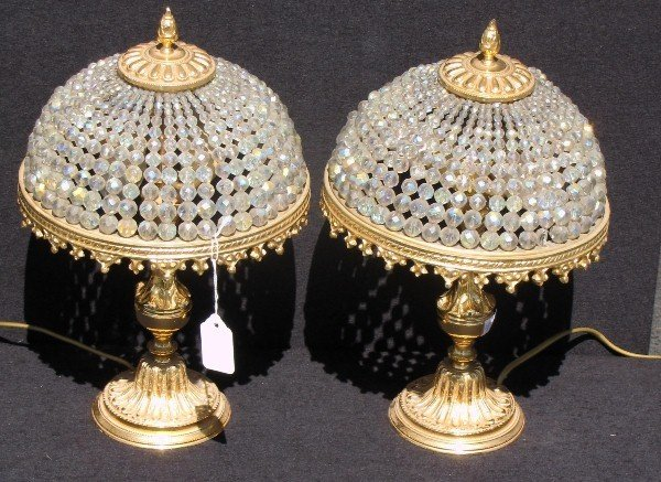 11: Pair of Empire style gilt and beaded glass lamps. H