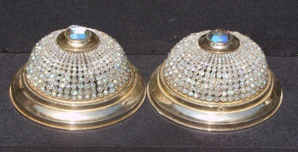 14: Pair of Empire style gilt-metal and beaded glass ce