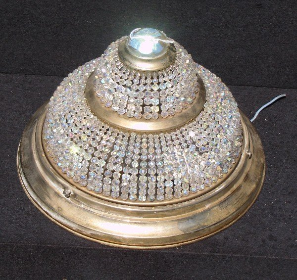15: Empire style gilt-metal and beaded glass ceiling li