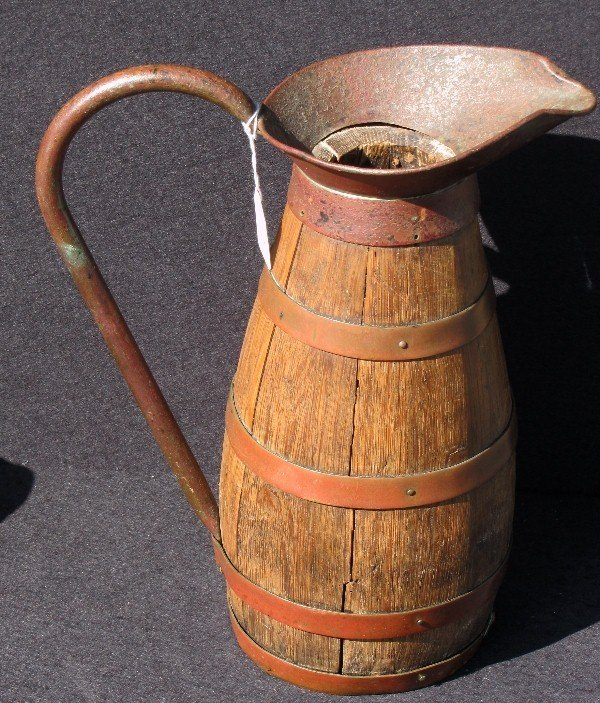 """17: Dutch wood and copper banded pitcher. H: 14"""""""