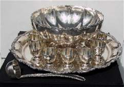 """84: Sterling silver punch bowl set; 14"""" punch bowl, 12"""