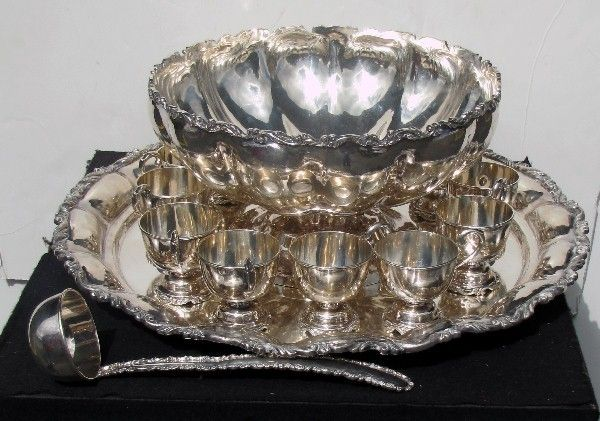 """Sterling silver punch bowl set; 14"""" punch bowl, 12"""