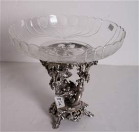 85A: Christofle silvered bronze and crystal centerpiece