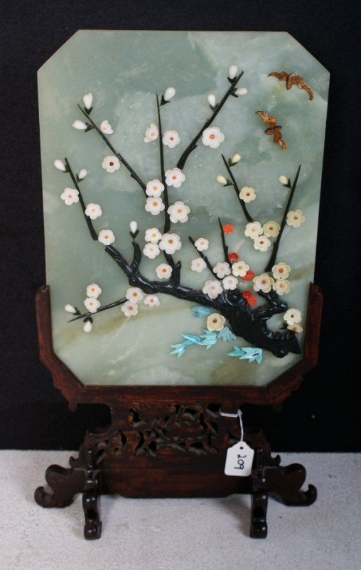 209: Chinese Jade table screen, decorated with a flower
