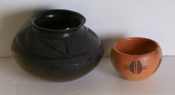 3: Two Native American pottery pieces, a blackware bowl