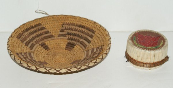 4: Two Native American woven pieces, an Ojibway porcupi