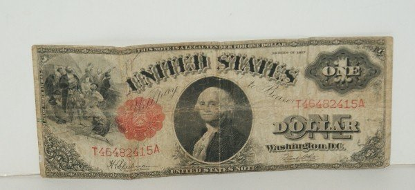 11: 1917 U.S. Large Note red seal one dollar bill.