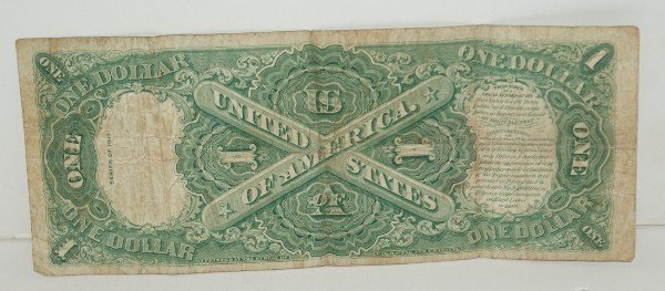 11: 1917 U.S. Large Note red seal one dollar bill. - 2