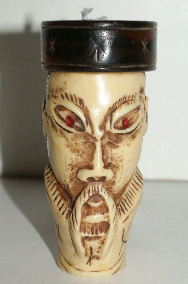 14: Chinese carved ivory and amber cane handle. H: 3 1/