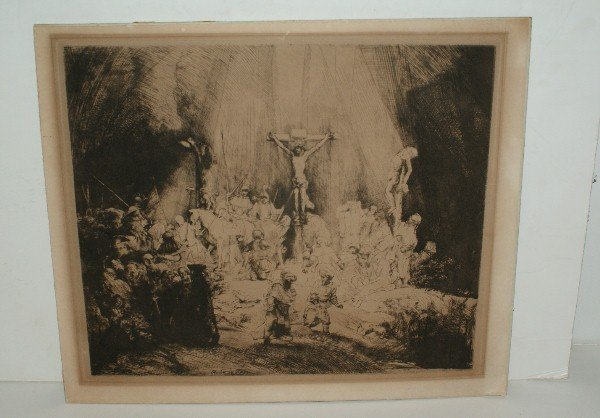 "15: Rembrandt etching ""The Three Croses"""