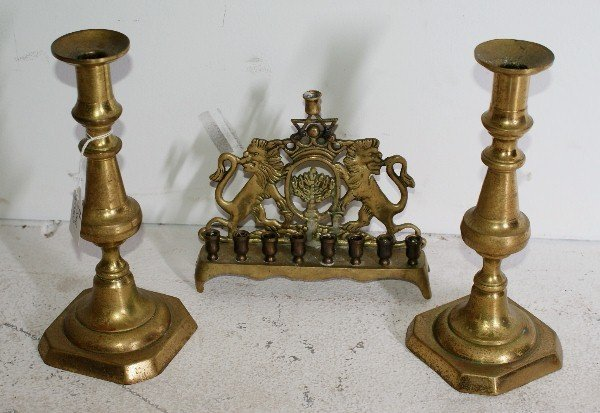 16: Three pieces of antique brass; pair of English cand