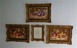 31: Three Royal Worcester porcelain plaques, limited e