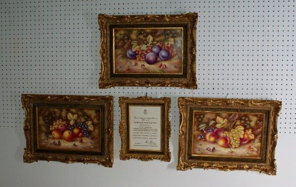 Three Royal Worcester porcelain plaques, limited e
