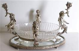45: Silvered bronze and crystal center piece, French 20