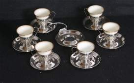 352 Set of 6 Gorham sterling silver and Lenox porcelai