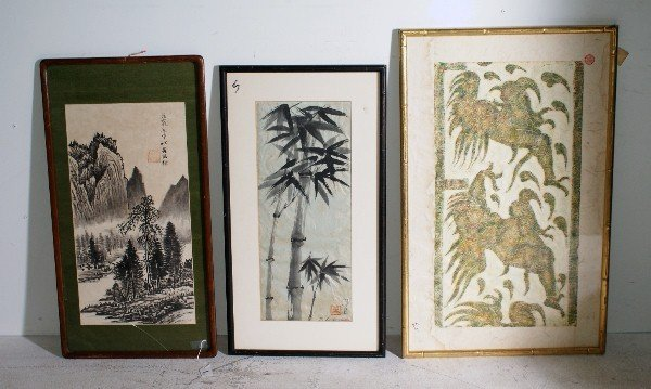 1:  Three Asian prints including a cave rubbing by Ting