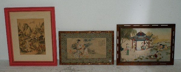 "2: Three Chinese watercolor paintings. Largest:13"" x 18"