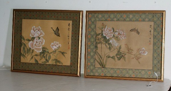 4: Pair of Chinese watercolors on silk, signed. 9 1/2""