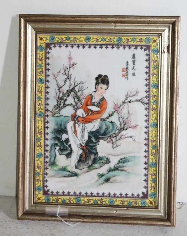 14: Chinese famille rose porcelain plaque depicting a b