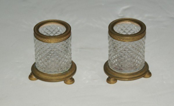18:  Pair of French diamond cut crystal and bronze-moun