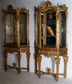 144: Pair of Italian carved gilt-wood two-part display