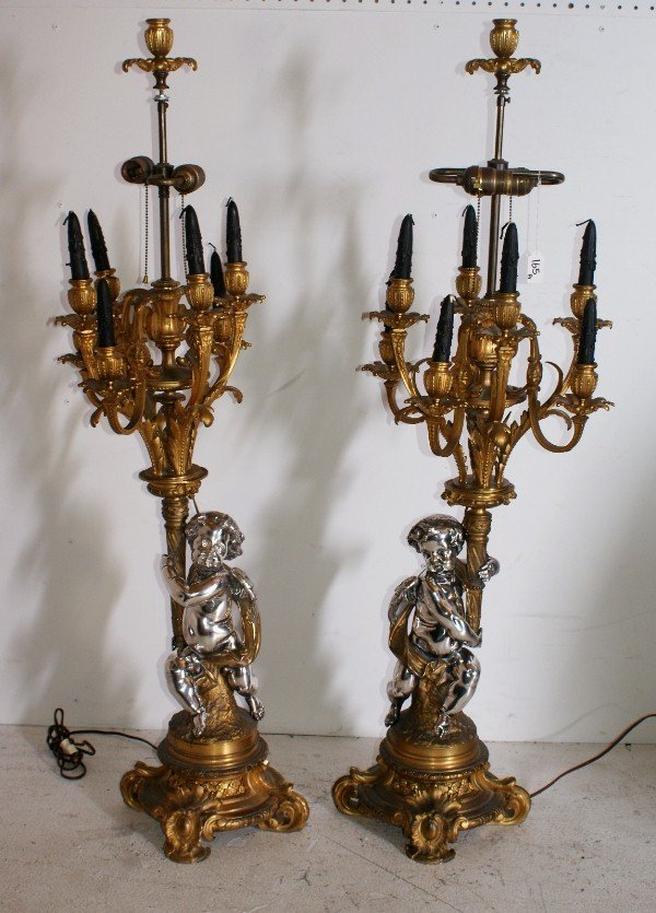 165: Large pair of French 19th century silvered and gil