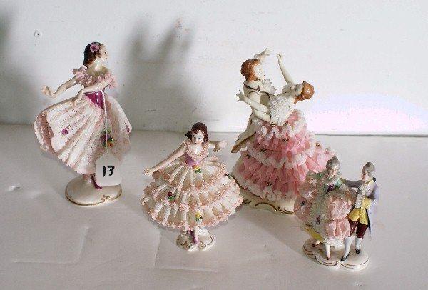 13:   Four German porcelain lace figures.  Largest: 7 1
