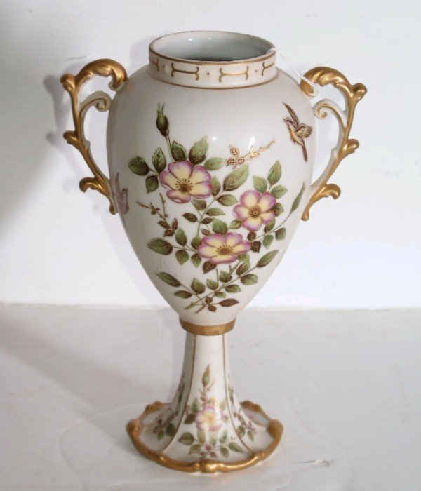 30:   Continental porcelain two-handle floral decorated