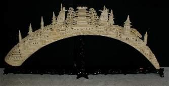 246:   Large Chinese carved ivory tusk bridge; intricat