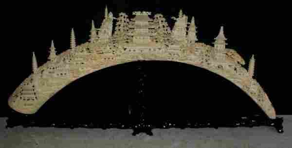 Large Chinese carved ivory tusk bridge; intricat