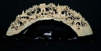 252: Chinese carved ivory tusk bridge; intricately ca