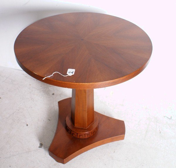 "2:  Round Versace table. H:27 1/2"" D: 25 1/2"" ."