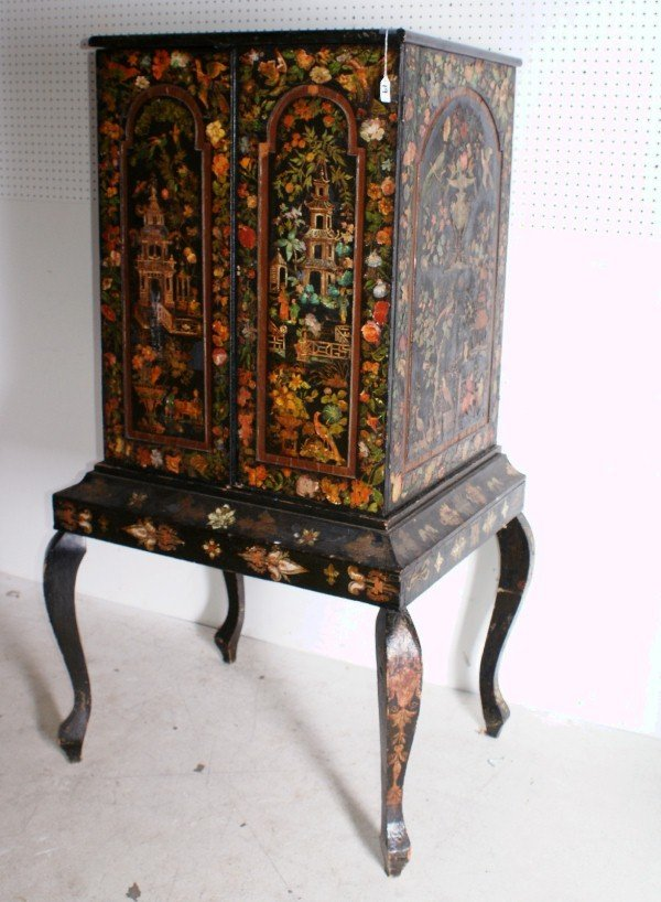 19:  19th century Folk Art two-part decoupage cabinet