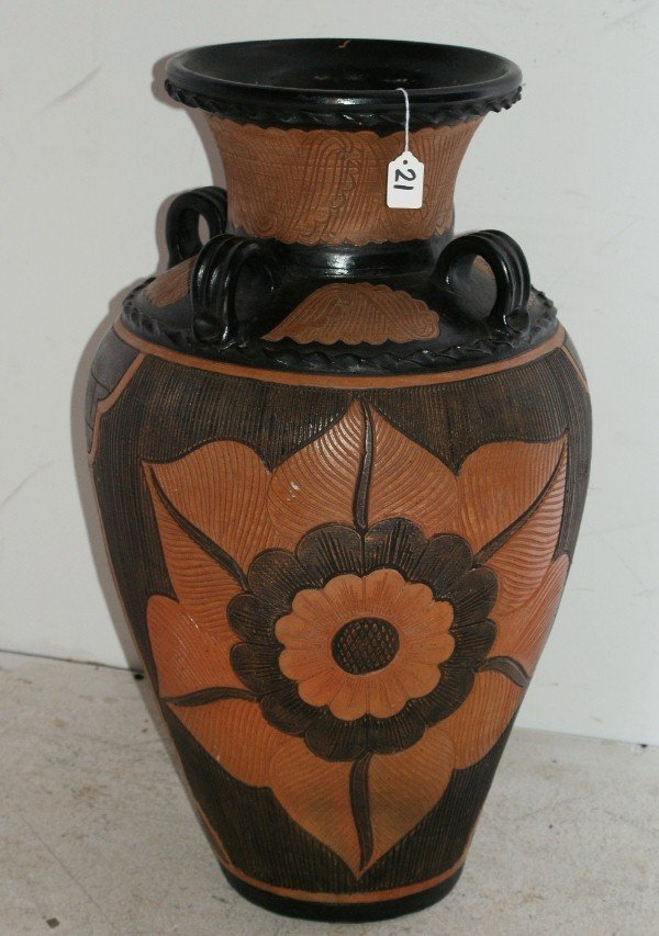 "21:  Large terracotta etched urn. H: 30"" D: 18"" ."
