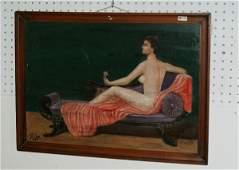"44: Oil on board, Reclining nude. Image: 16"" x 22 3/4"""