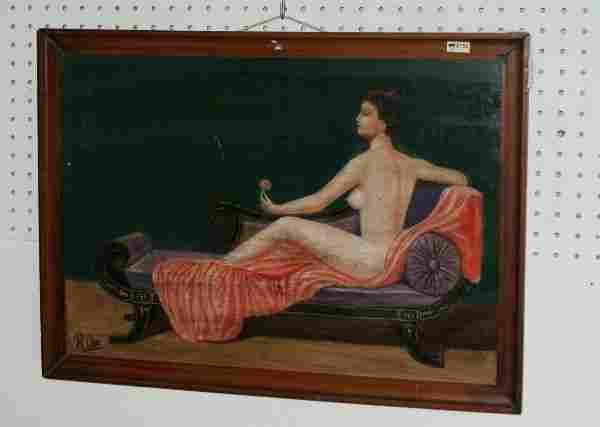 "Oil on board, Reclining nude. Image: 16"" x 22 3/4"""