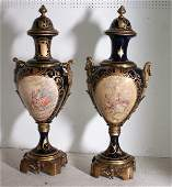 225:  Pair of Monumental Sevres porcelain cobalt blue g