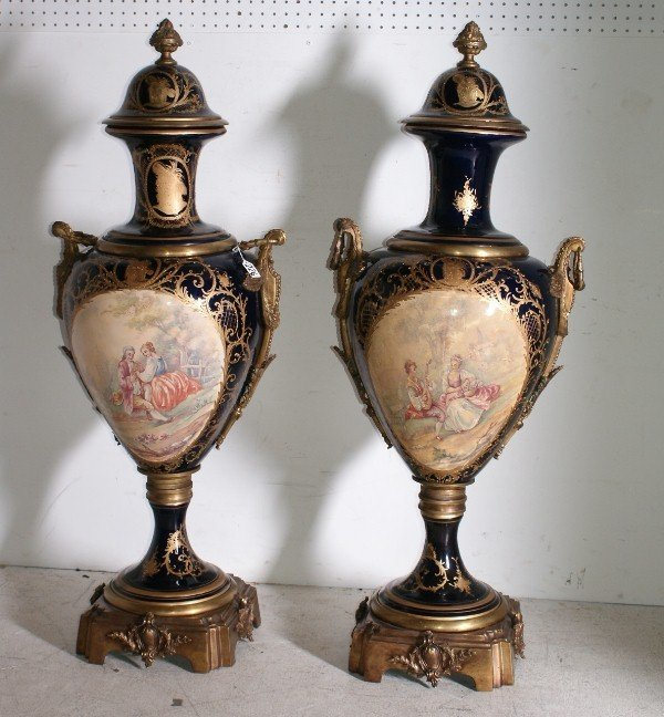225:  Pair of Monumental Sevres porcelain cobalt blue g