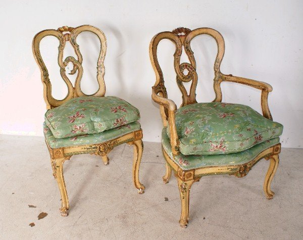 4: Two 19th century Italian painted and parcel gil