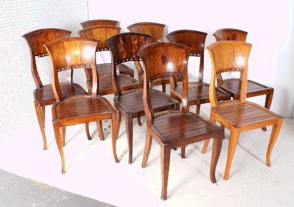 """8: Set of ten Biedermeier style side chairs. H: 36"""""""