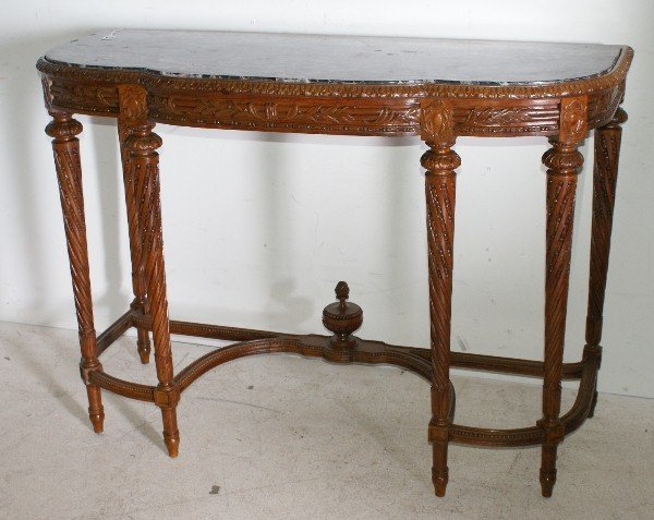 12: Louis XVI style 19th century carved mahogany marble