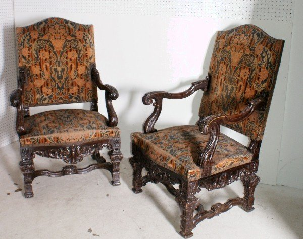 16: Pair of Louis XIV style 19th century ornately carve