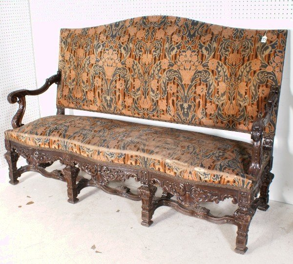 17: Louis XIV style 19th century ornately carved sofa,
