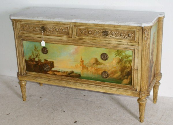 21: Venetian 19th century painted commode with a m