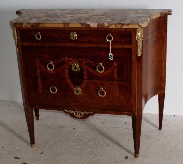 23: Louis XVI style 19th century kingwood and marquetry