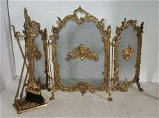 29: A Fine bronze three-fold French fire screen and a s