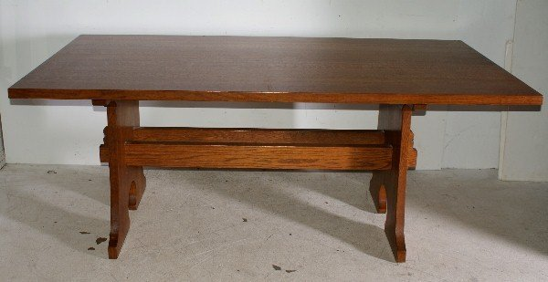 """45: Stickley oak dining table with 2 leaves. H: 30 1/4"""""""